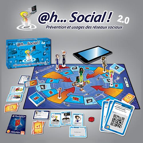 @h...Social ! 2.0 Edité en 2013, @h…Social 2.0 est l'outil incontournable pour aborder les questions des usages des réseaux sociaux. Par sa mécanique de jeu simple, il permet d'aborder rapidement les questions de paramétrages, de droit à l'image, de cyberharcèlement, d'identité numérique… A partir de 13 ans